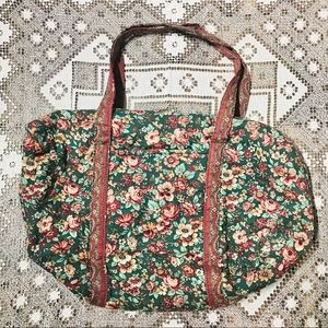 Vintage floral fabric duffel travel weekend bag